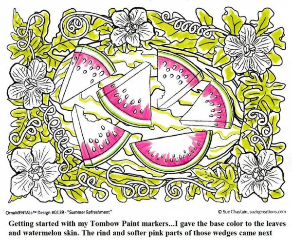 "Image 1 of Sue Curry coloring progression of ""Summer Refreshment"""