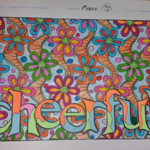 """Cheerful"" from Feel Good Words, colored by Maree Wakefield."
