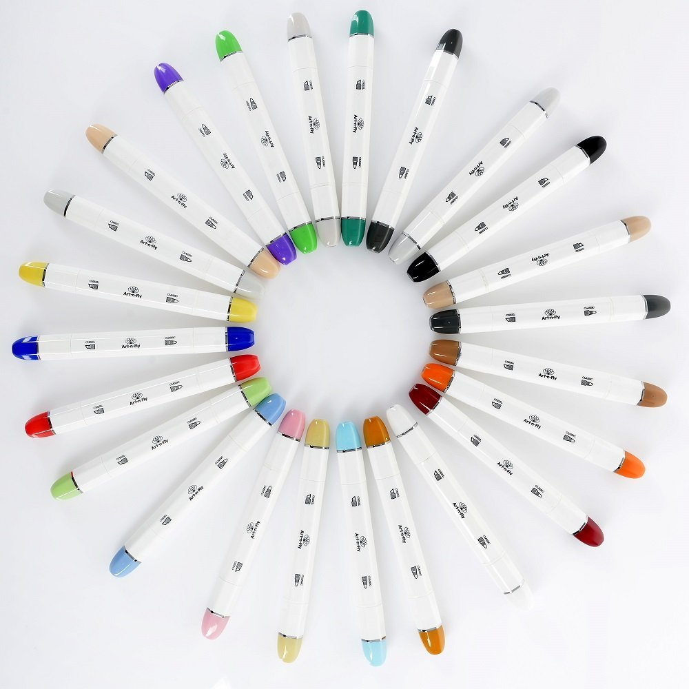 Colors in the Art-n-Fly 24 Piece Dual Tip Alcohol Markers Set (Photo © Amazon)