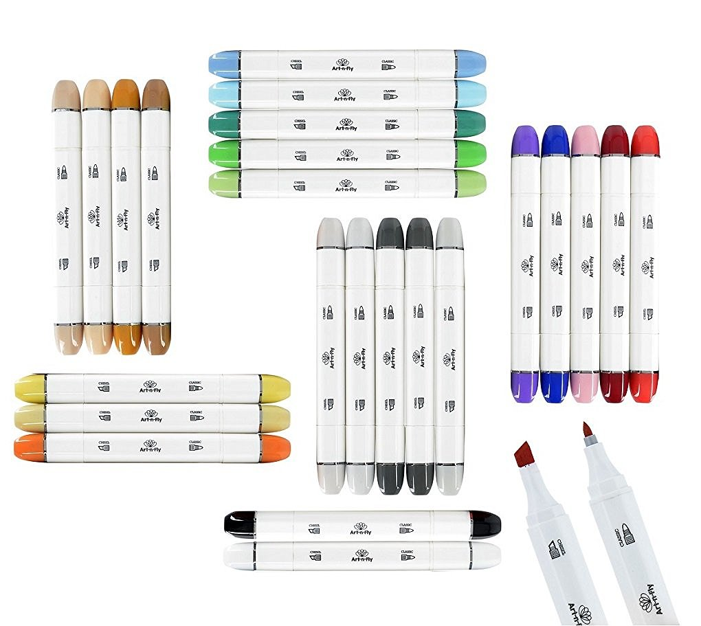 The Art-n-Fly 24 Piece Dual Tip Alcohol Markers Set includes warm colors, cool colors, neutrals, skin tones, and a colorless blender. (Photo © Amazon)