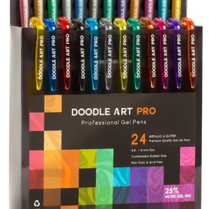 Doodle Art Pro 24 Pack Glitter and Metallic Gel Pens Set