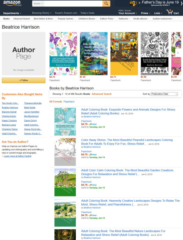 Beatrice Harrison is a pen name used to publish thousands of pirated coloring books.