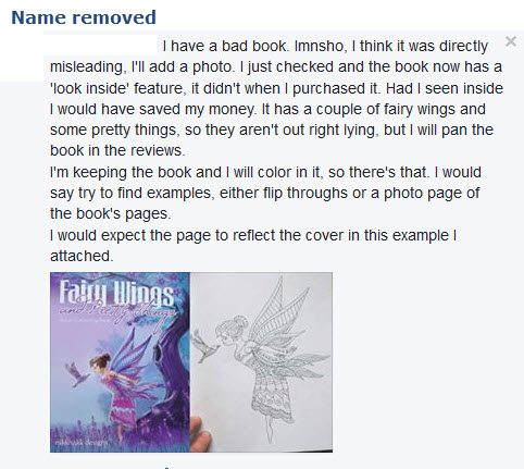 Customer story of getting a bad coloring book.