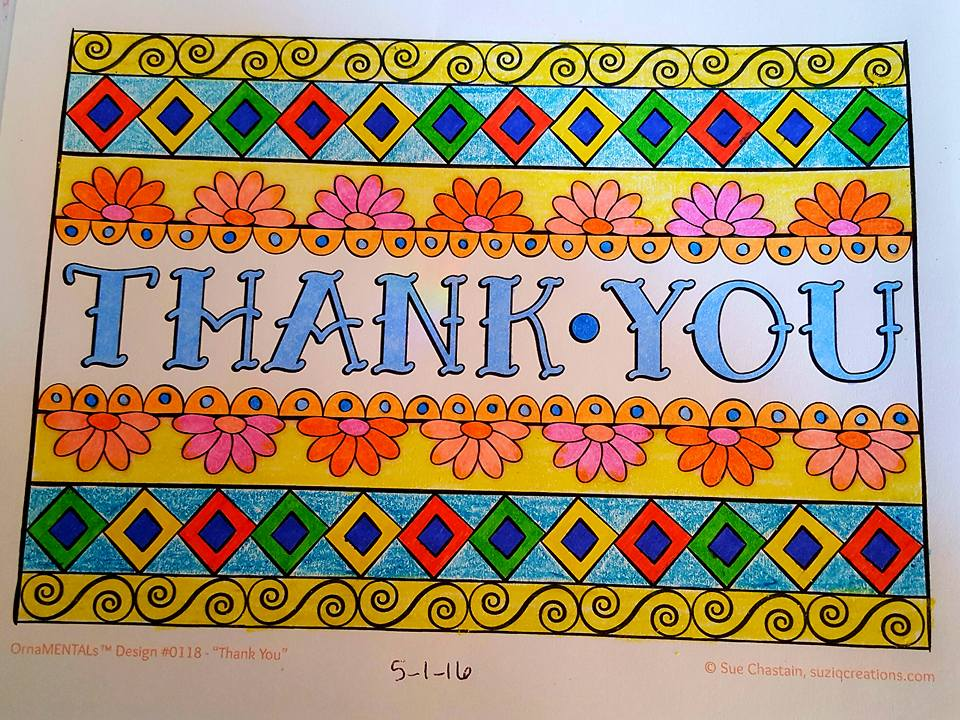 """Thank You"" colored by Brenda Hanson"