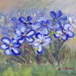 Blue Wildflowers in a Field Fine Art Painting