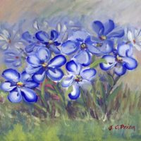 Blue Wildflowers in a Field Fine Art Painting