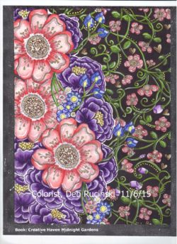 Creative Haven Midnight Gardens colored by Deb Rucinski