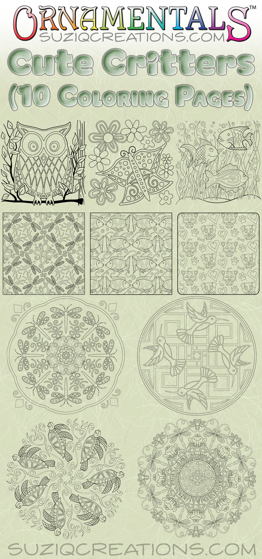 Cute Critters Coloring Page Bundle - 10 Pages
