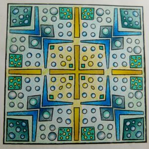 """Wonky Squares"" from MiniMENTALs colored by Deidre Snee."