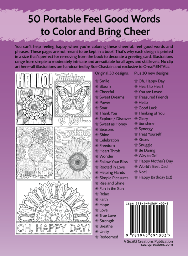 OrnaMENTALs Feel Good Words To-Go Back Cover