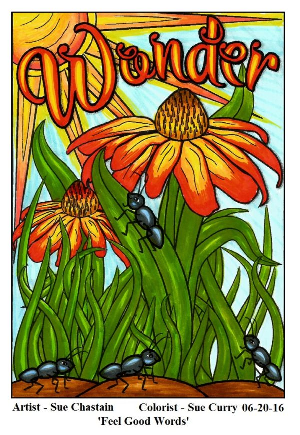 """Wonder"" from ""feel Good Words"" colored by Sue Curry"