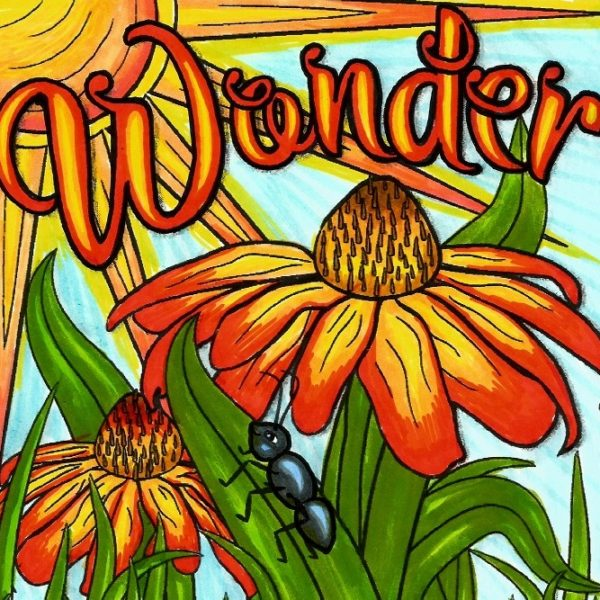 """""""Wonder"""" from """"Feel Good Words"""" colored by Sue Curry"""