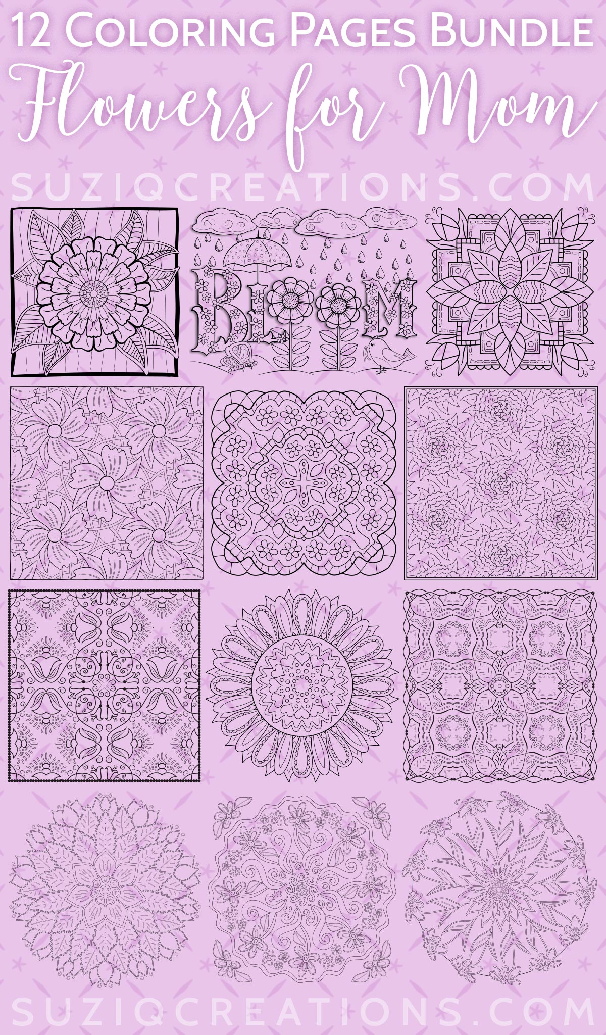 Flowers for Mom Coloring Pages Bundle Preview