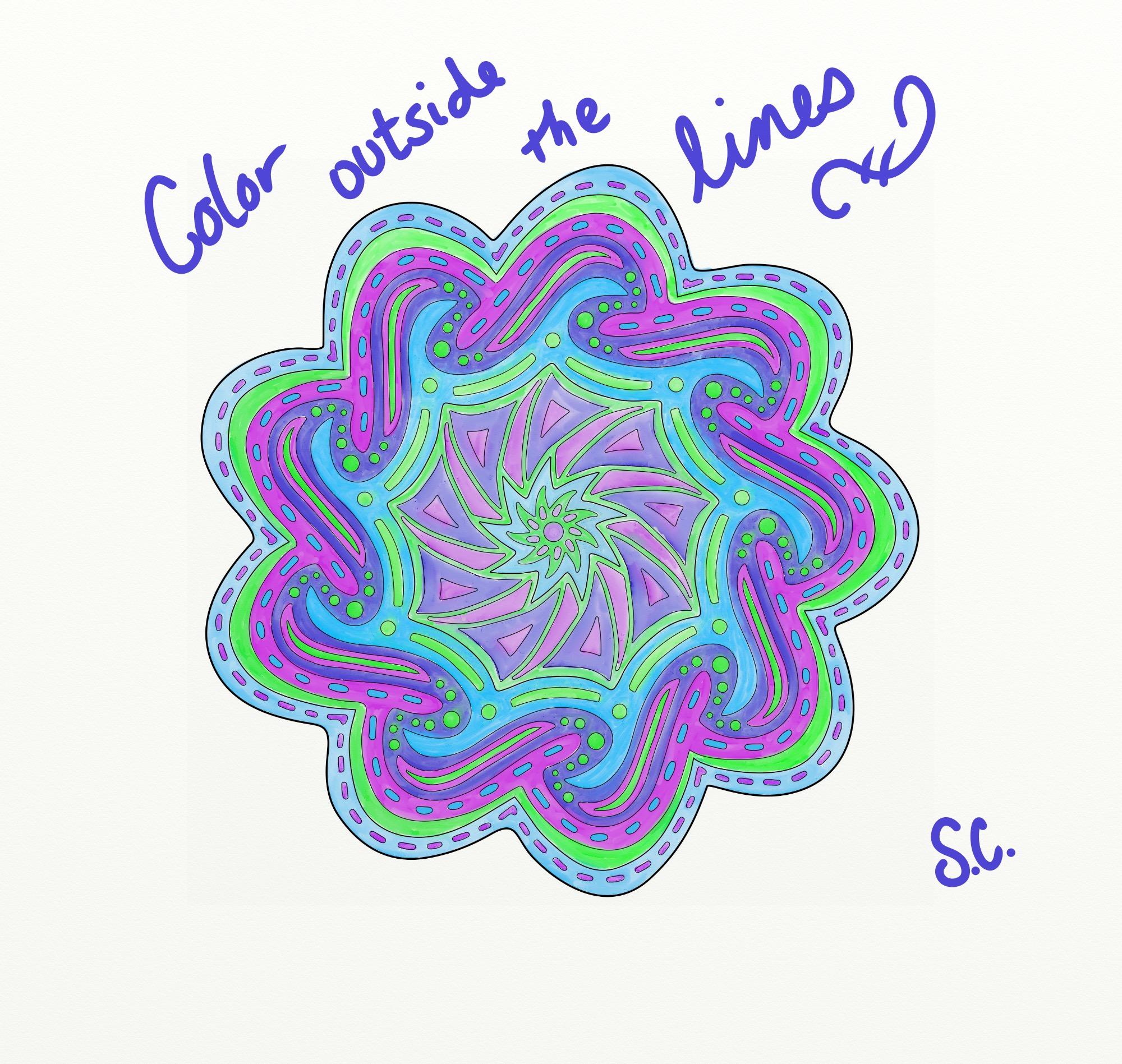 OrnaMENTALs Catch the Wave Coloring Page - SuziQ Creations