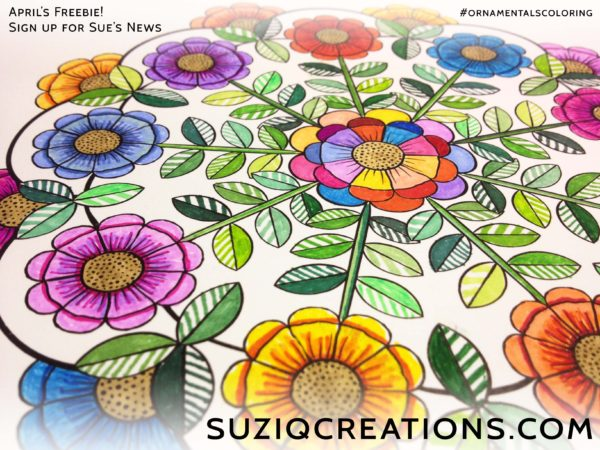 Bloomandala Free coloring page for subscribers of Sue's News