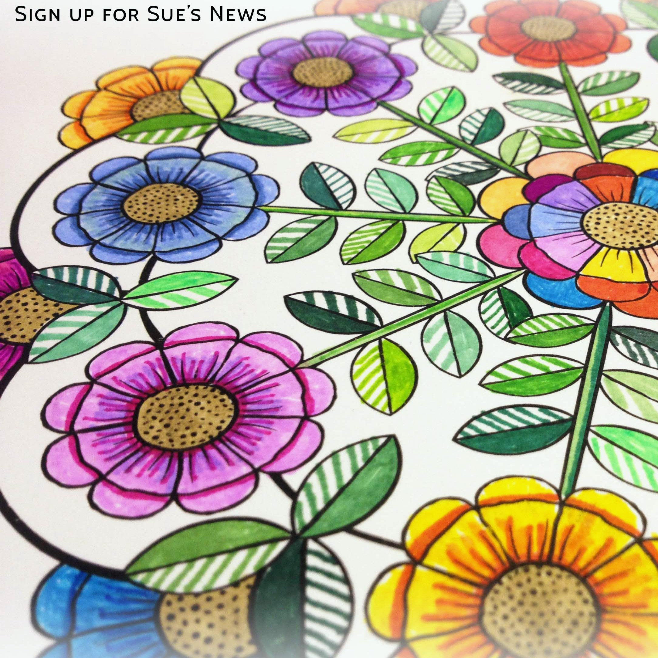 Bloomandala Free coloring page for subscribers of Sue's News.
