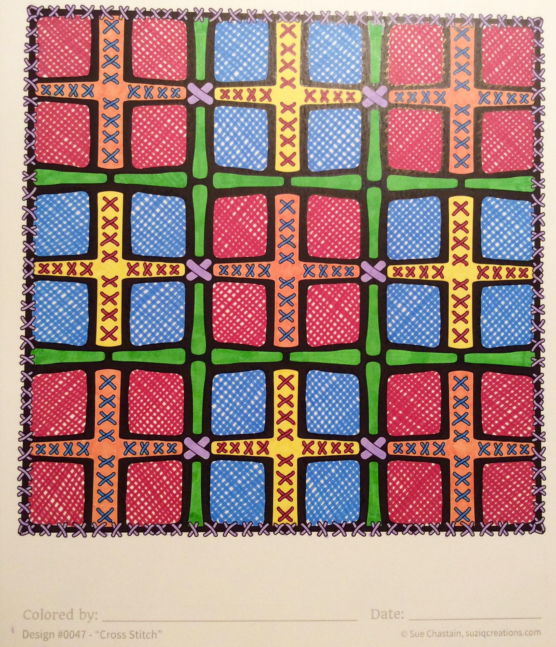 """OrnaMENTALs Design #0047 """"Cross Stitch,"""" colored by Sue Chastain"""