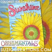 """Download this """"Sunshine"""" page as a free sample from the portable coloring book """"Feel Good Words to-Go by Sue Chastain."""