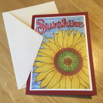 "Greeting card made with ""Sunshine"" from OrnaMENTALs Feel Good Words To-Go"