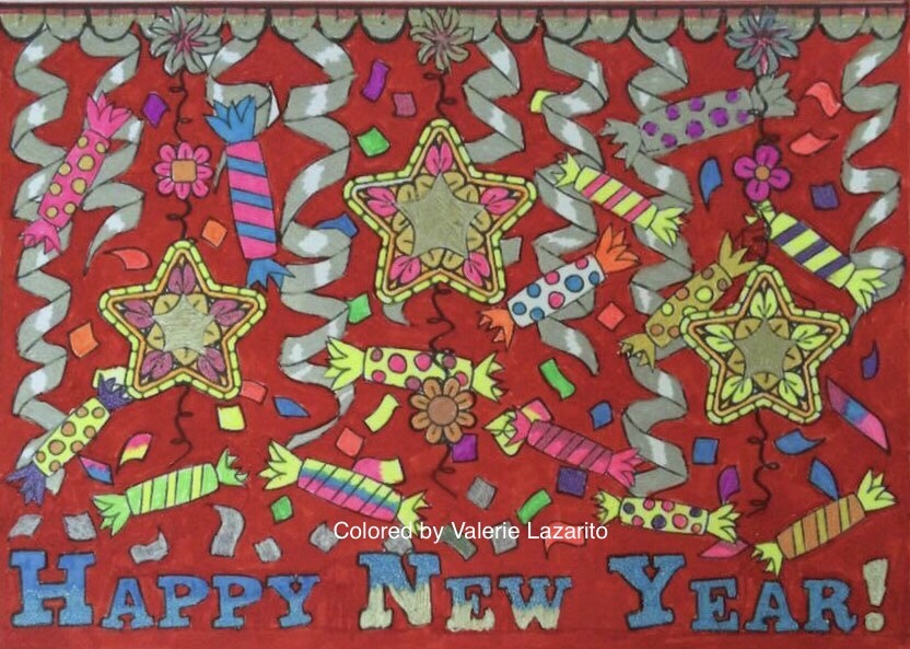 Happy New Year colored by Valerie Lazarito