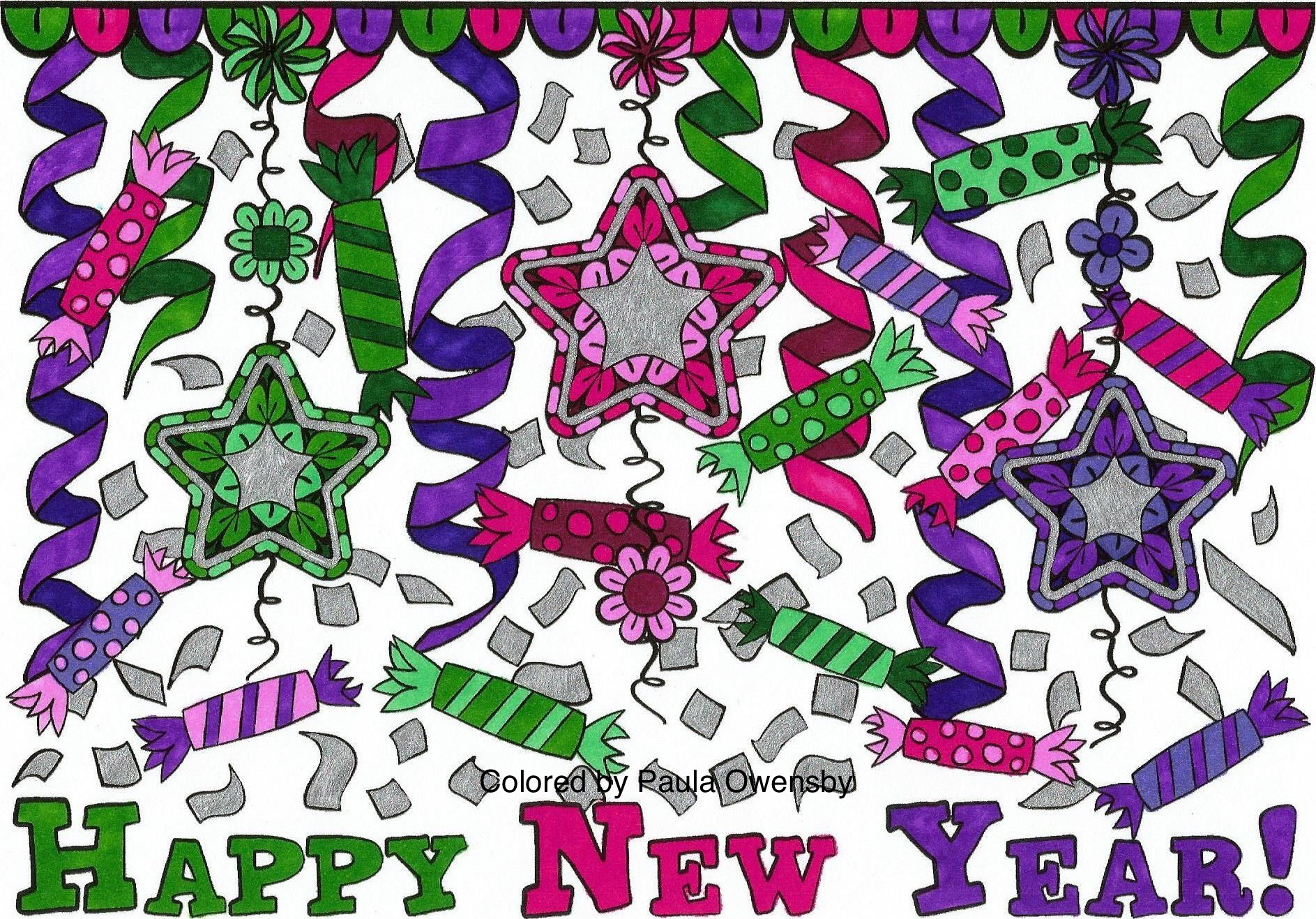 Happy New Year colored by Paula Owensby
