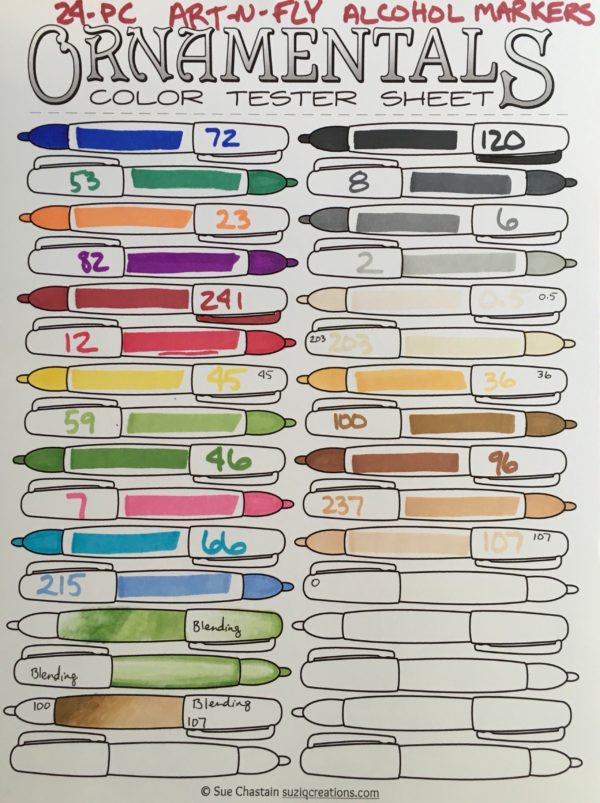 Color Chart of the Art-n-Fly 24 Dual Tip Alcohol Sketch Markers