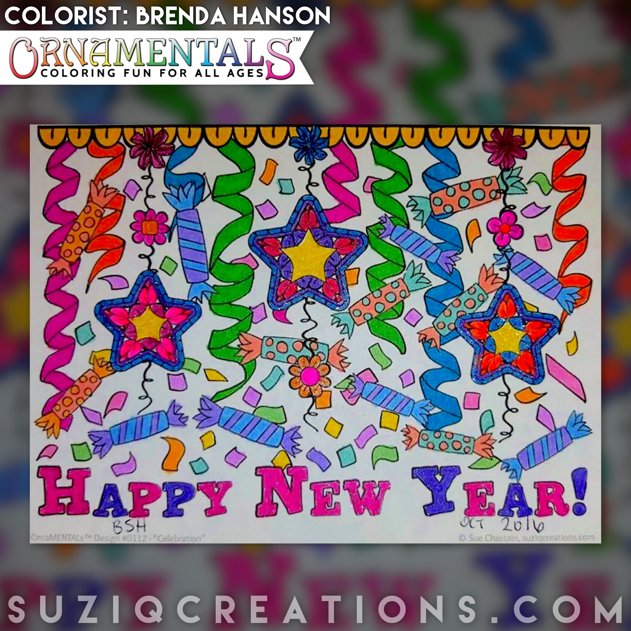 Happy New Year colored by Brenda Hanson