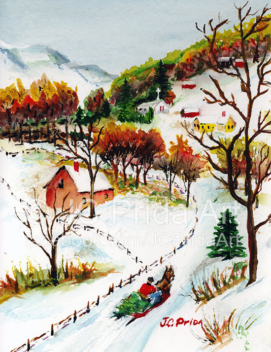 Winter Sleigh Ride Watercolor Painting
