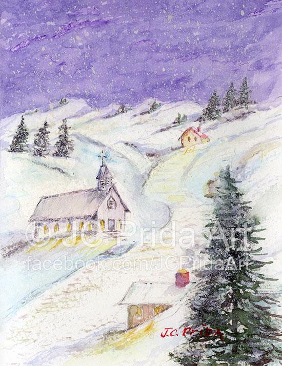 Christmas Church Painting by JC Prida