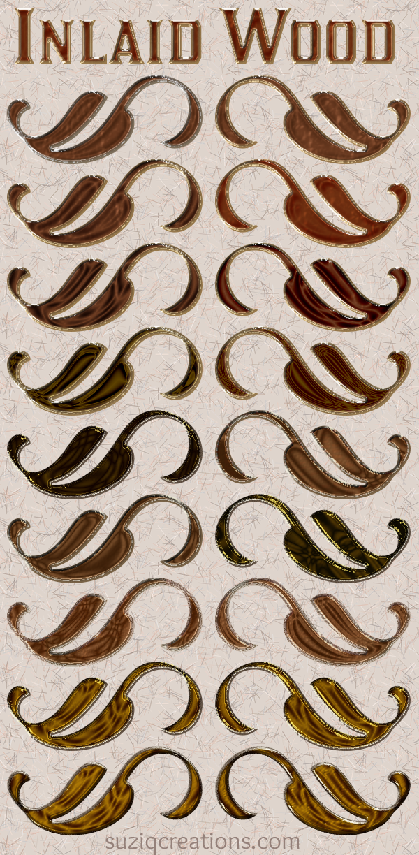 Inlaid Wood Layer Styles Preview