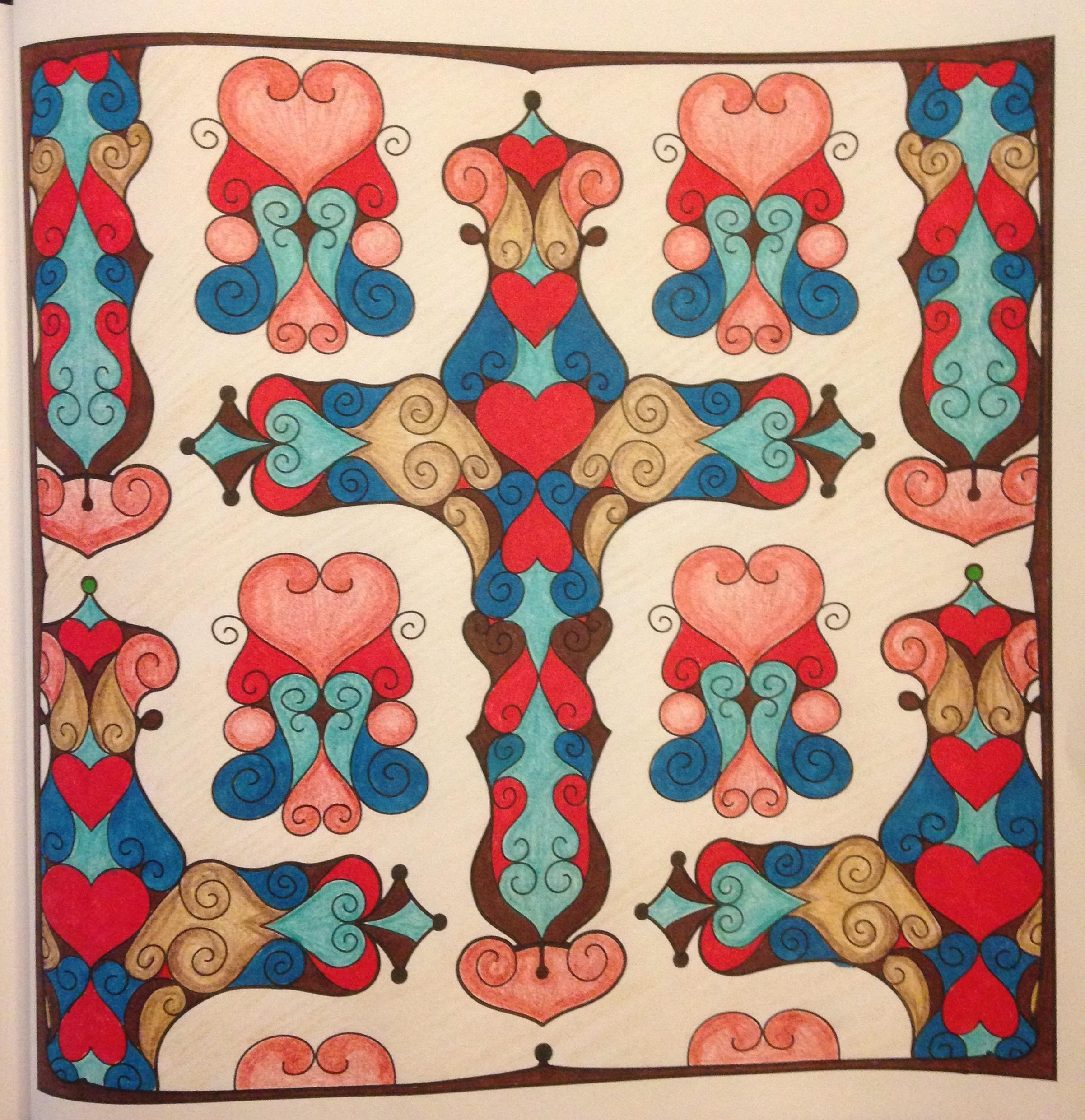 Colorist: Lora Pancoast Media: Pencils and marker Design: Ornate Cross Book: OrnaMENTALs Splendid Symmetry