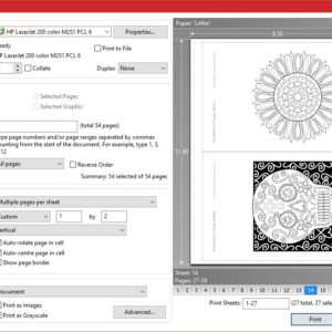 MiniMENTALs 2-up Printing Layout Settings - PDF X-Change Viewer