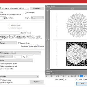 MiniMENTALs 2-up Printing Layout Settings - PDF X-Change Viewer