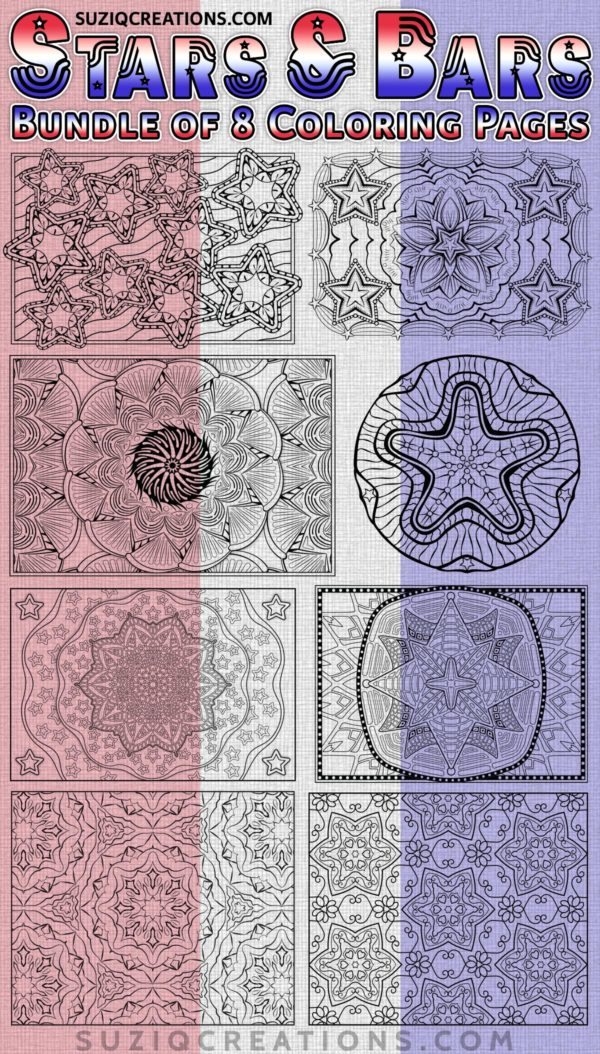 Stars and Bars Coloring Pages Bundle Preview