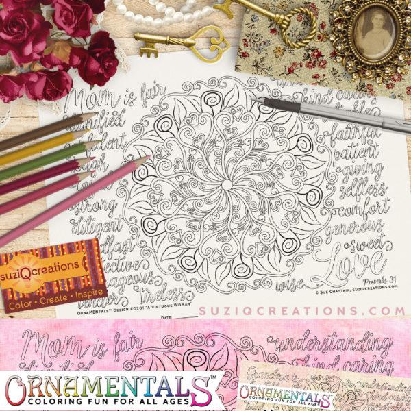 A Virtuous Woman Coloring Page - OrnaMENTALs Design 0201