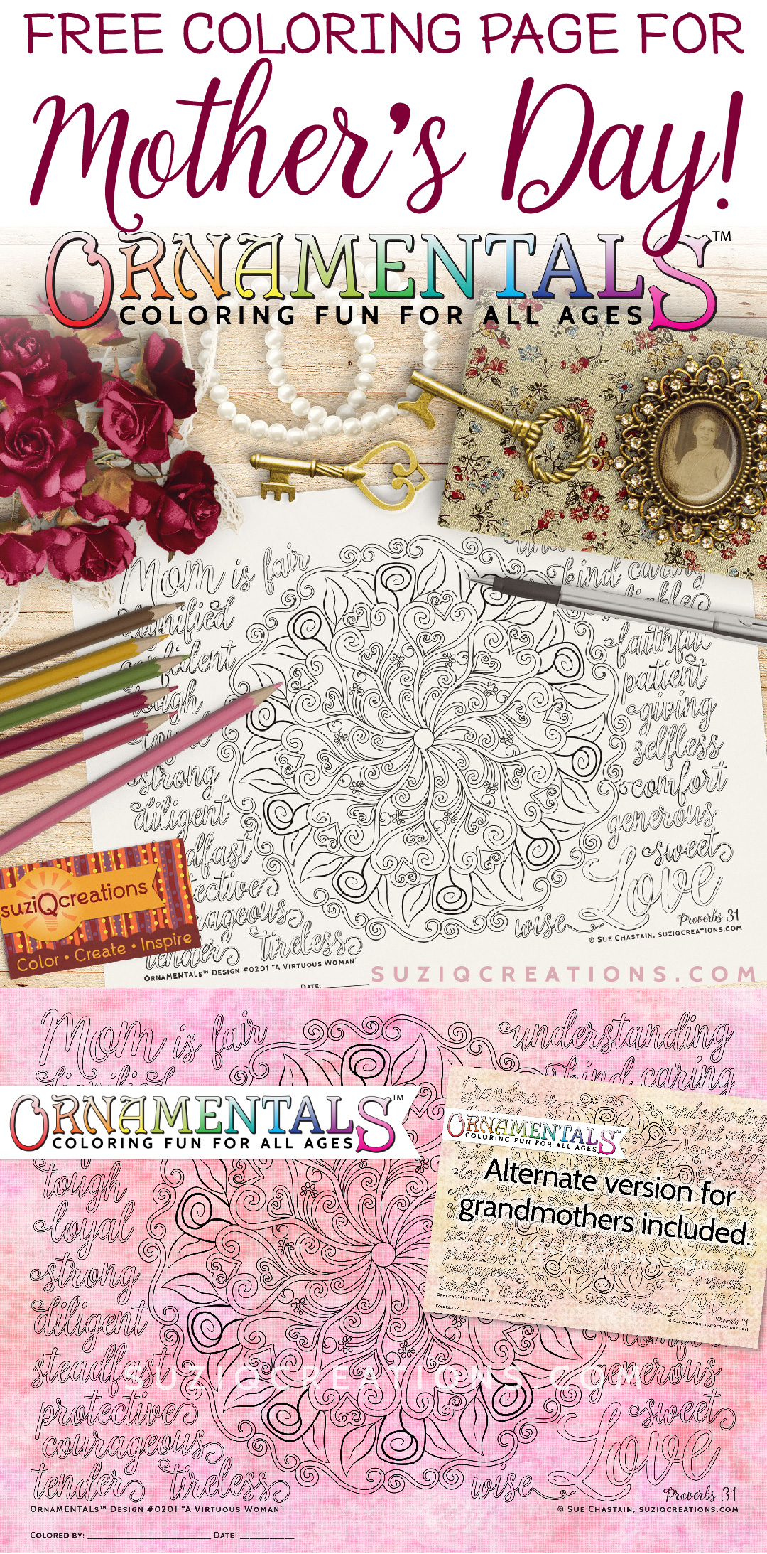 A Virtuous Woman Coloring Page - OrnaMENTALs Design 0201