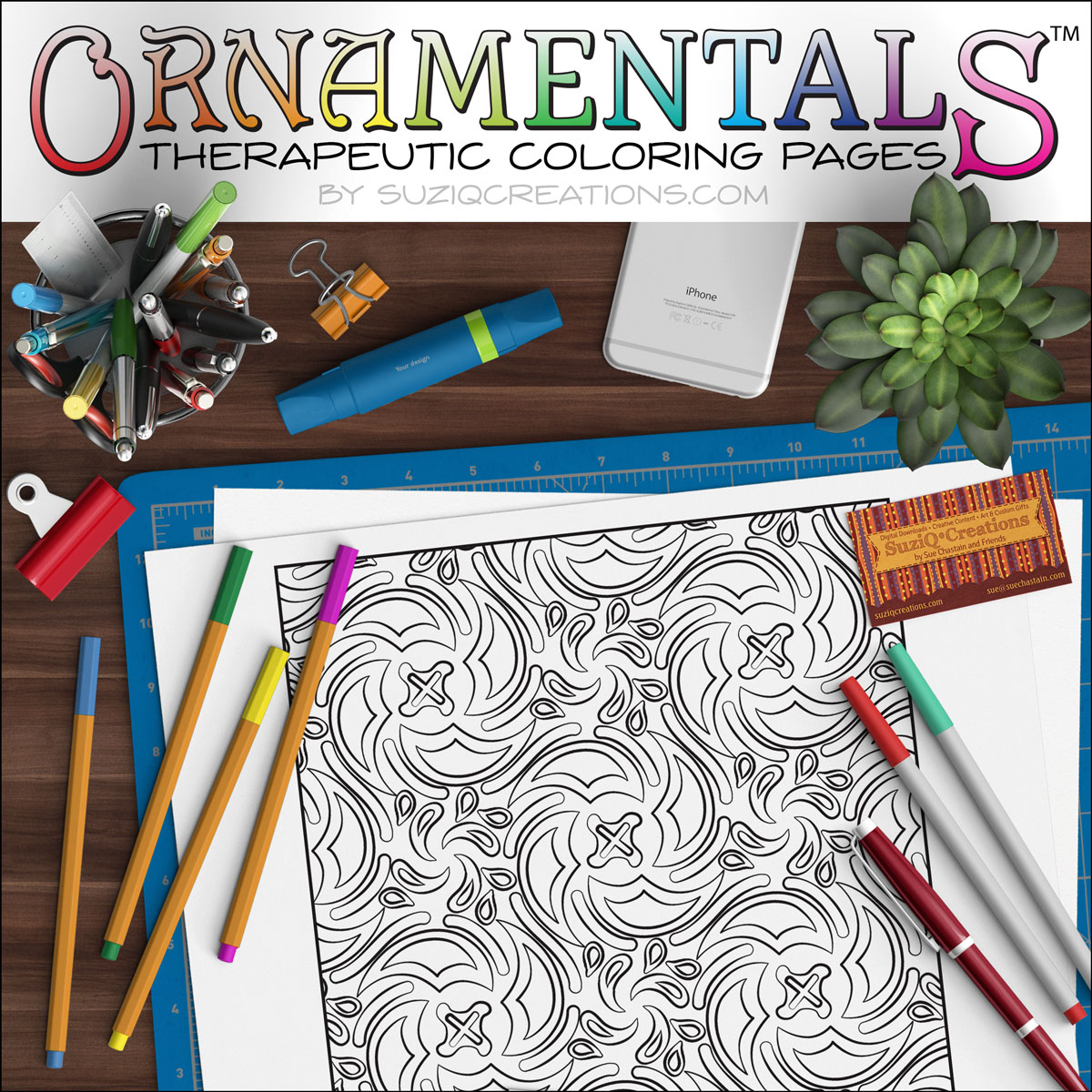"""Spin Cycle"" Coloring Page Scene - OrnaMENTALs Design # 0039"