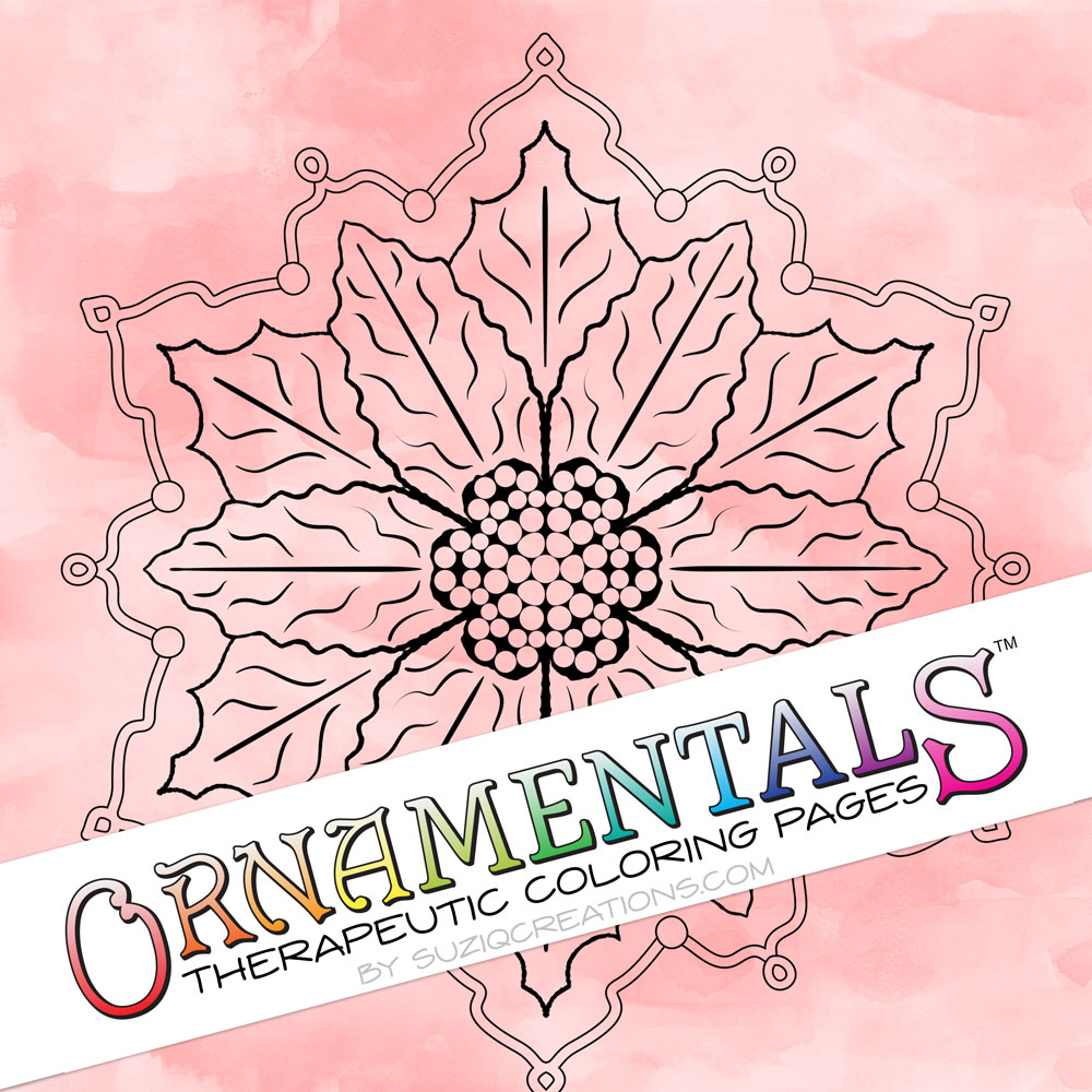 "OrnaMENTALS #0082 ""Poinsettia"" Coloring Page Preview"