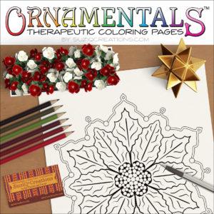 """OrnaMENTALS #0082 """"Poinsettia"""" Coloring Page Scene"""