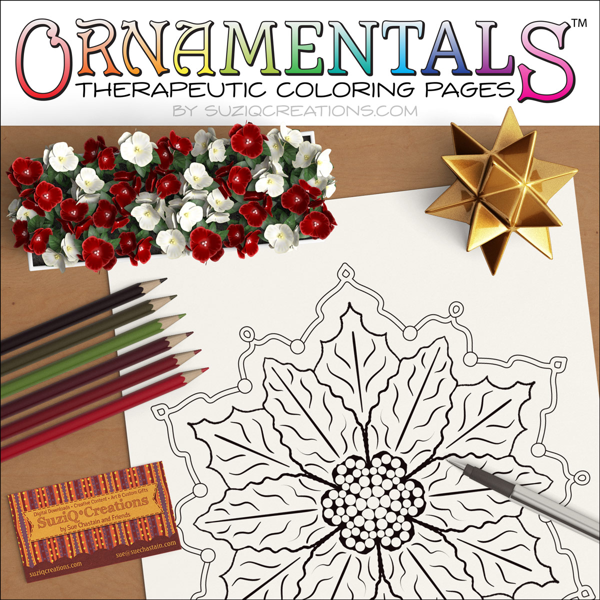 OrnaMENTALs Poinsettia Coloring Page - Free Sample - SuziQ Creations