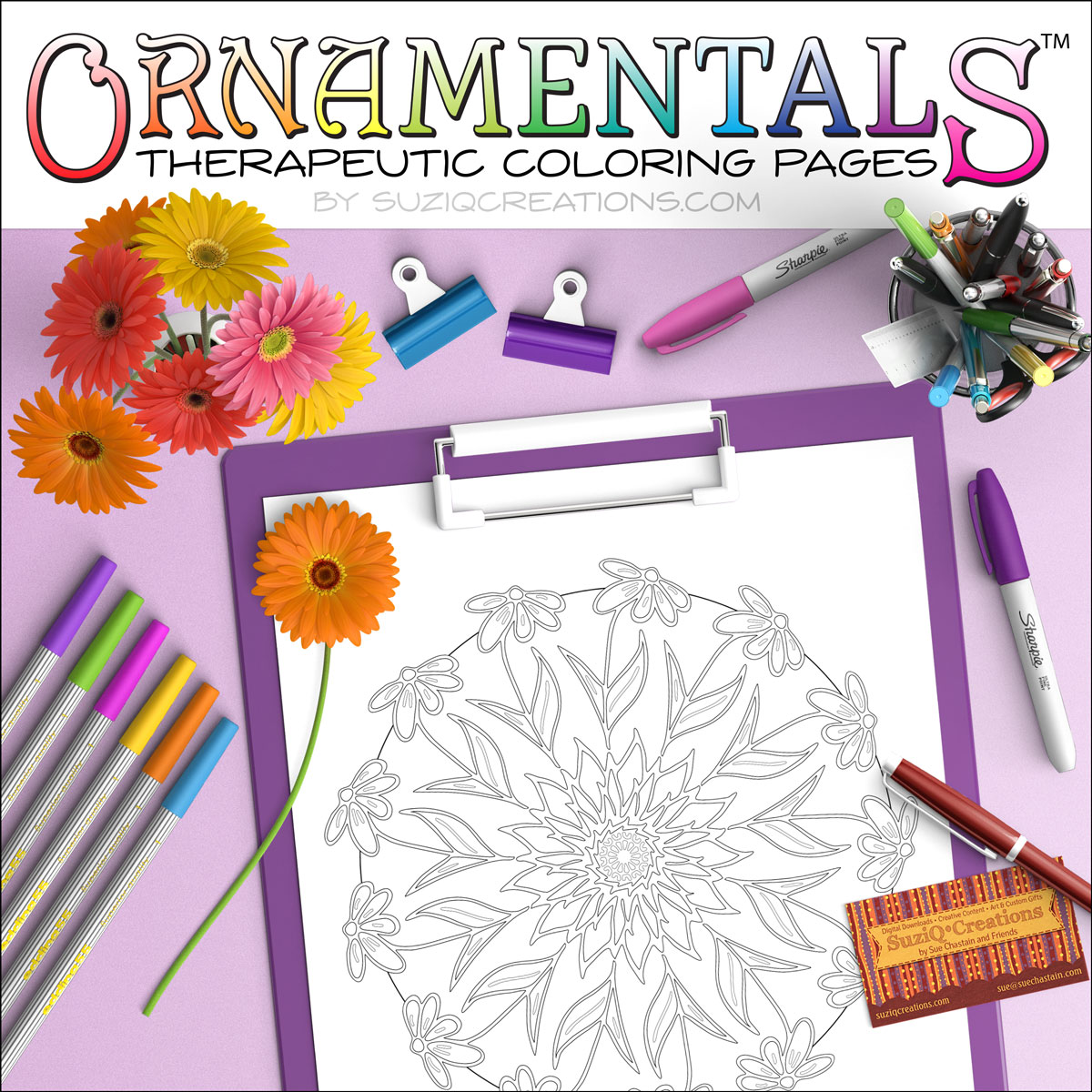 Radiating Coneflowers Coloring Page Scene OrnaMENTALs-0016