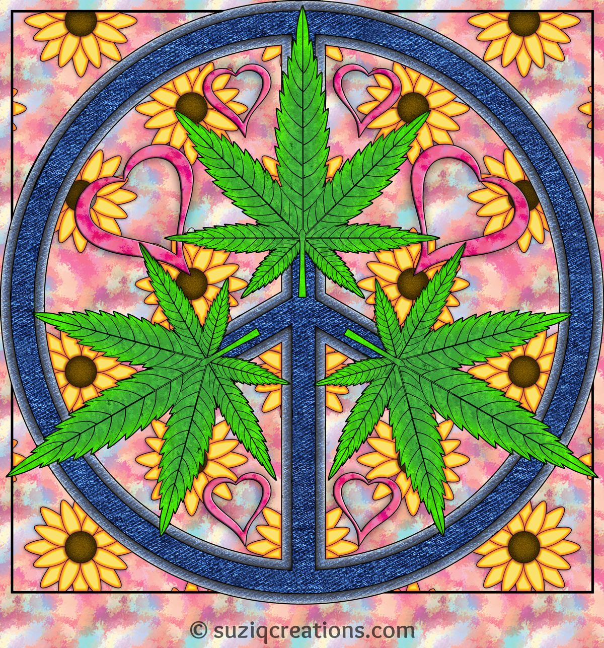 """Peace, Toke, and Love,"" OrnaMENTALs™ #0024, Colored by Sue Chastain."