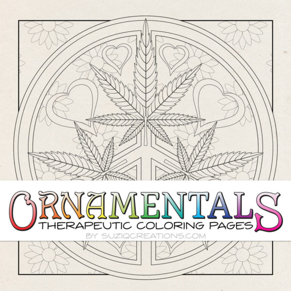 OrnaMENTALS #0024 Peace Love and Toke Coloring Page Preview