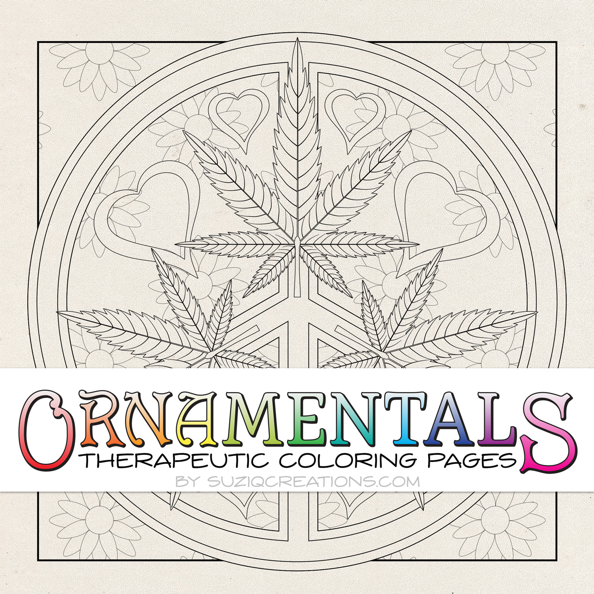 ornamentals peace love toke coloring page suziq creations