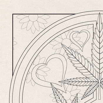 OrnaMENTALS #0024 Peace Love and Toke Coloring Page Thumbnail
