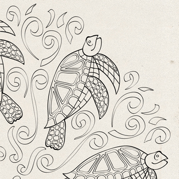 Sea Turtles Splash Coloring Page Thumbnail OrnaMENTALs #0026