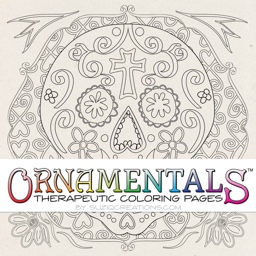 OrnaMENTALS #0028b Sugar Skulls Simple Version Coloring Page Preview