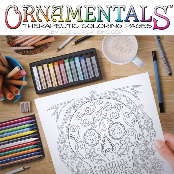 Sugar Skulls Coloring Page Scene OrnaMENTALs #0028b - Simple Version