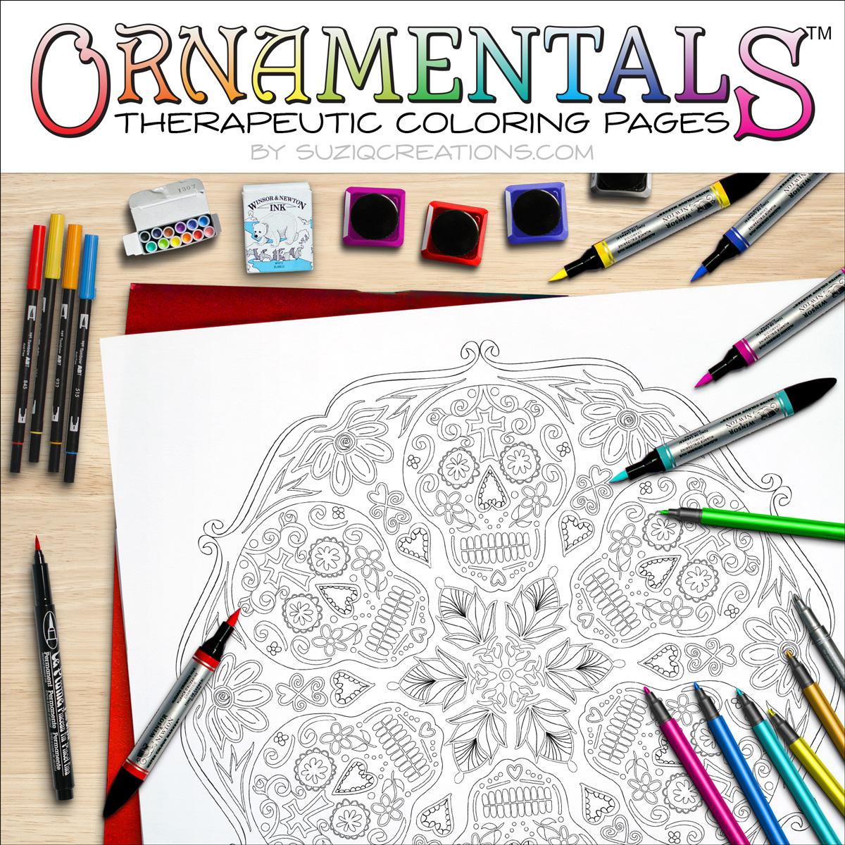 Sugar Skulls Coloring Page Scene OrnaMENTALs #0028