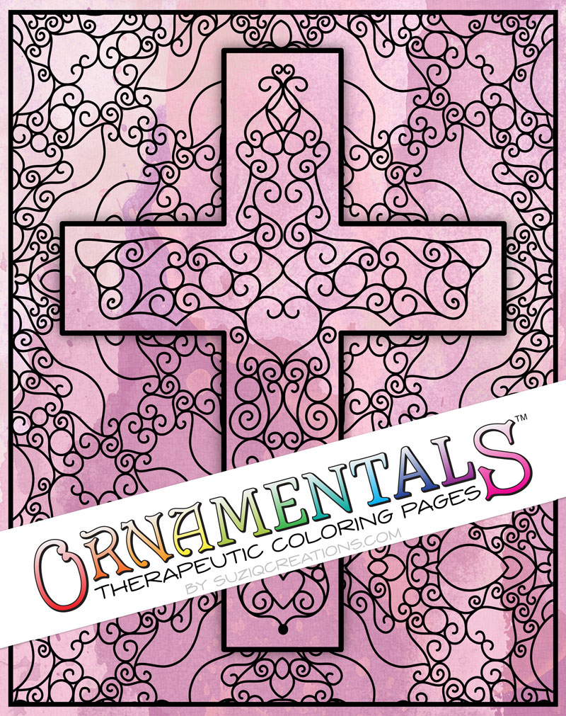 Scrollwork Cross OrnaMENTALs #0101 Coloring Page Preview